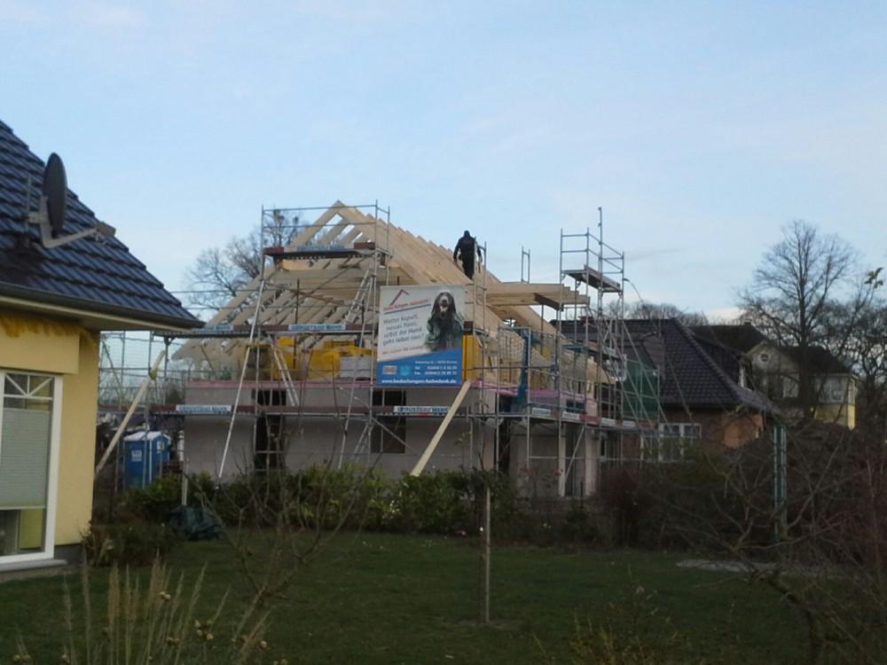 8 Baustelle Cambs gestellter Dachstuhl