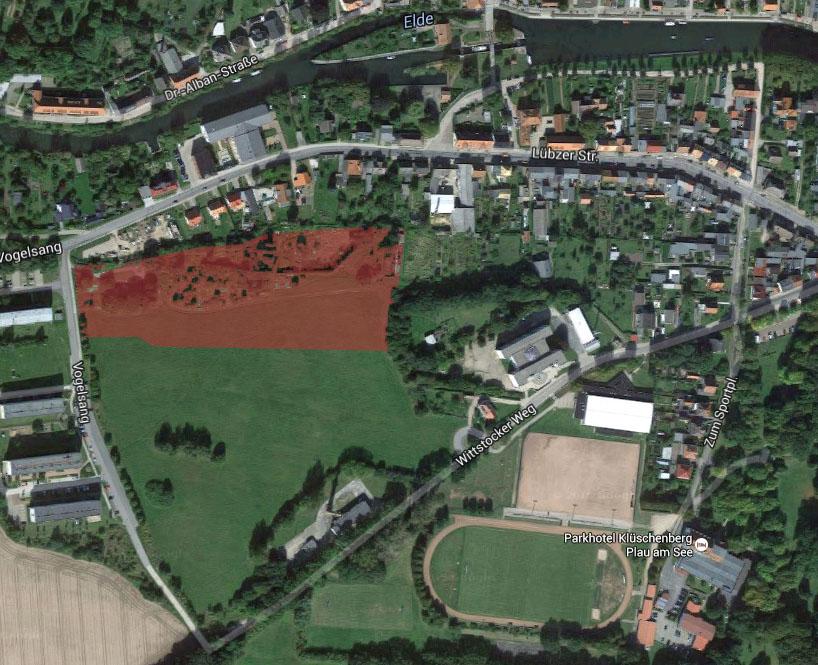 Plau - Luftbild mit Markierung